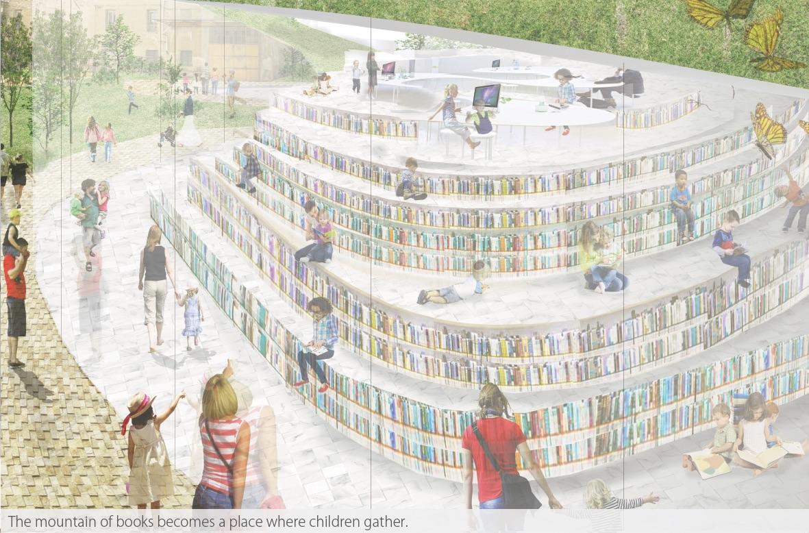 The mountain of books Yasui Design Lab. 2017