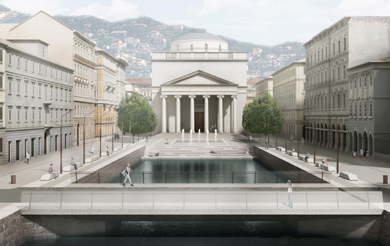 Dettaglio della riapertura del canale con la nuova piazza