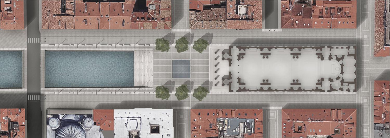 Planimetria del progetto con la riapertura del tratto interrato del canale e la nuova piazza }