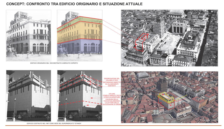 03 - concept - confronto fra edificio originario dell'Arch. Tito Brusa ed edificio attuale studio B+M Associati}