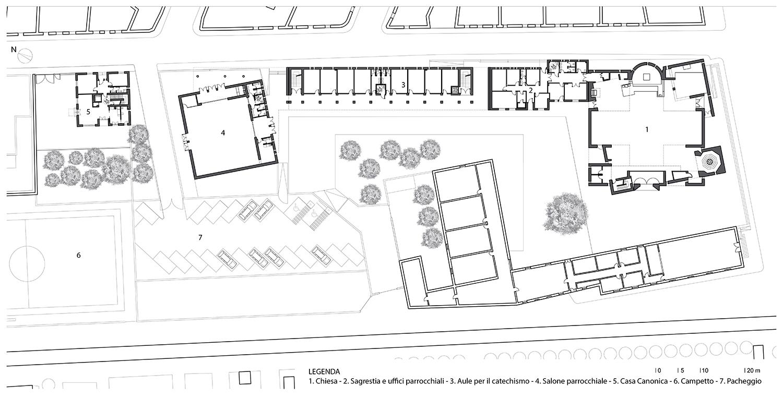 Planimetria complesso parrocchiale  arch. Benedetta Fontana}