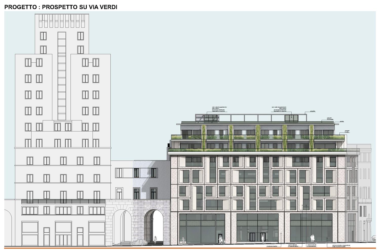 08 - progetto architettonico - prospetto su Via Verdi studio B+M Associati}