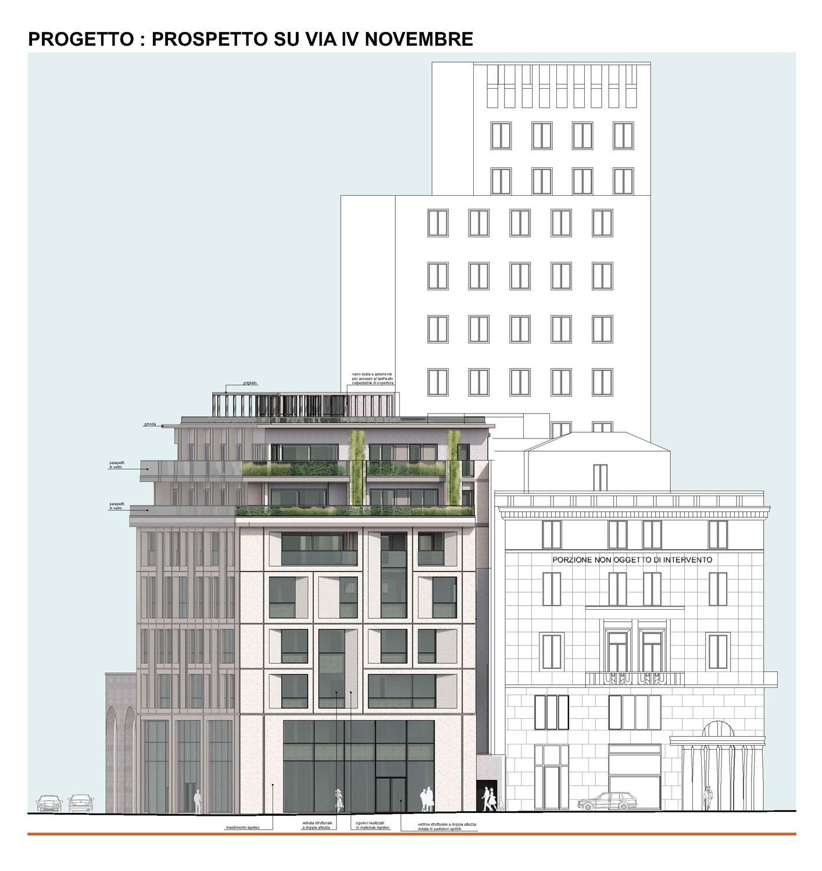 09 - progetto architettonico - prospetto su Via IV Novembre studio B+M Associati}