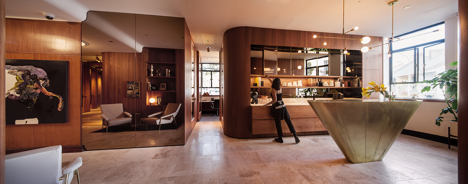 Bar and kitchen area  }