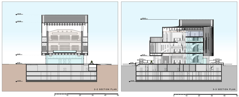 Section 2-2 & 3-3 Plan Adnan Kazmaoğlu Mimarlık Araştırma Merkezi}