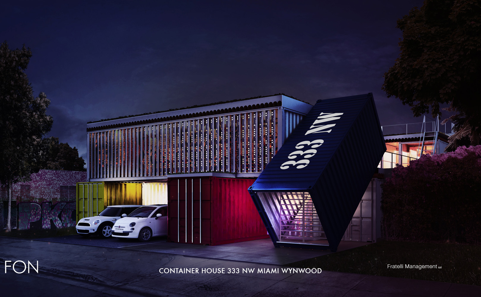 CONTAINER HOUSE BY NIGHT }