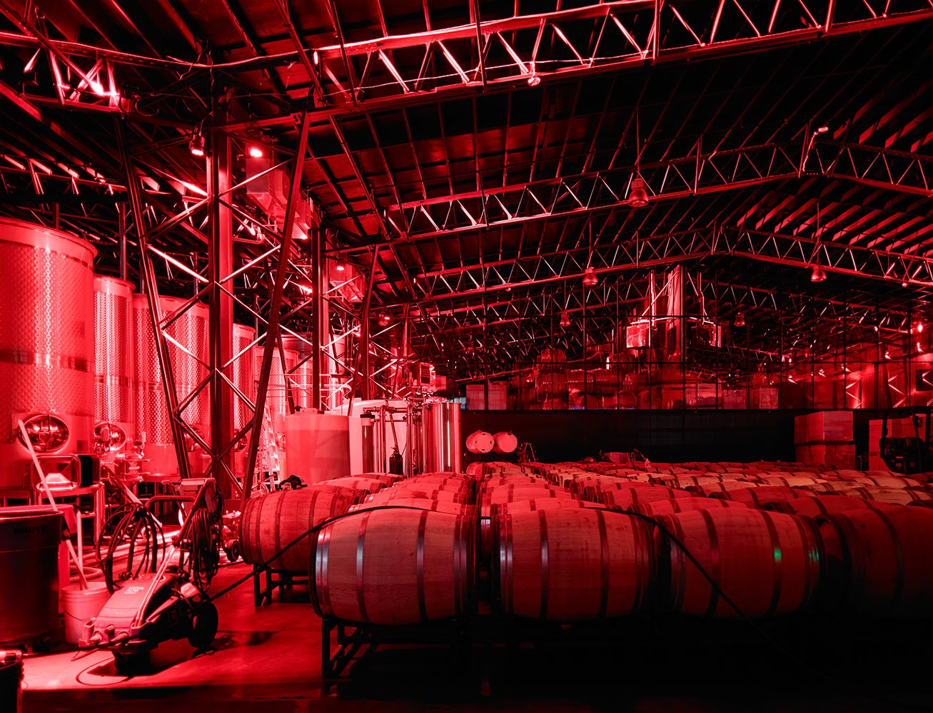Contiguous open-structure steel truss warehouse for grape crush, barrel storage and bottling.
