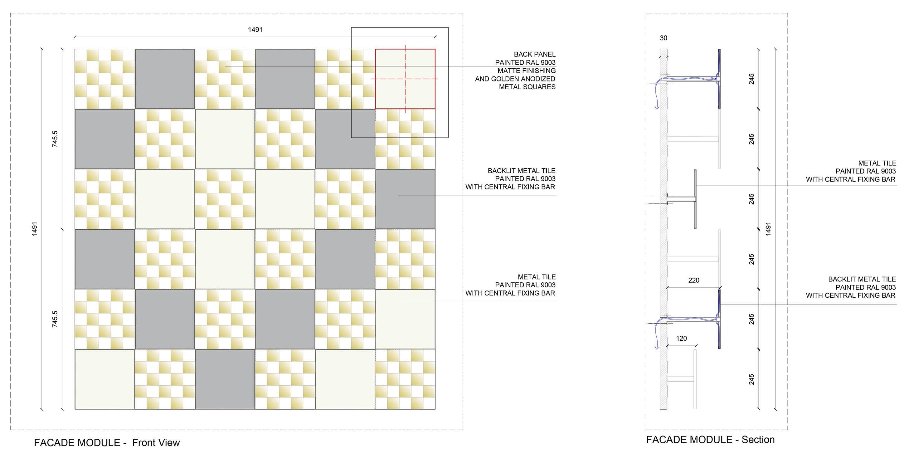 Facade module Cristofori Santi Architetti}
