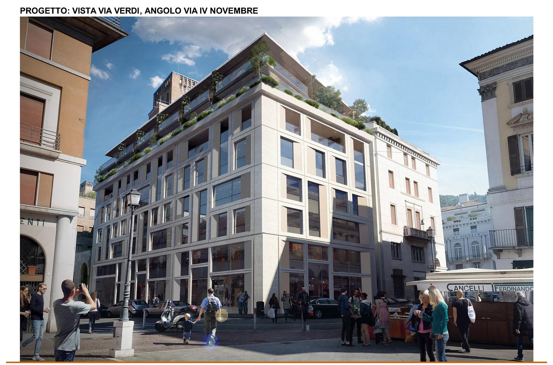11 - inserimento fotografico - vista all'angolo tra Via Verdi e Via IV Novembre studio B+M Associati}