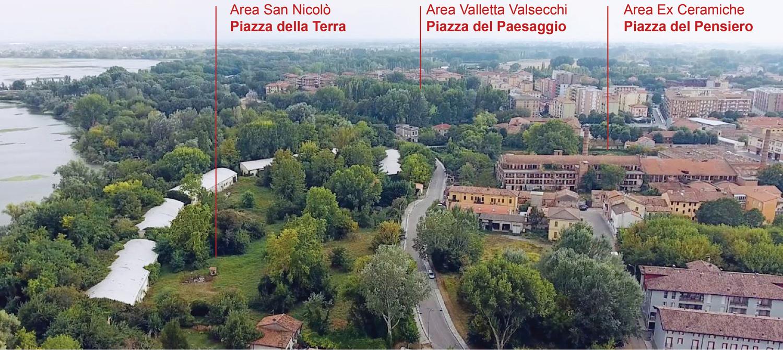 Mantova HUB - Vista dall'alto delle aree di intervento Archivio Corvino + Multari 2017