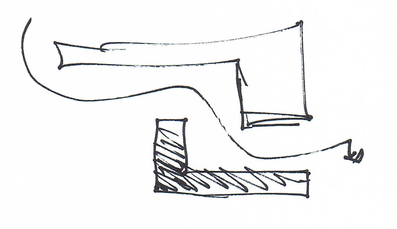 Schizzo di progetto. Principio insediativo del complesso parrocchiale, rapporto con ex convento e percorso attraverso la corte arch. Benedetta Fontana}