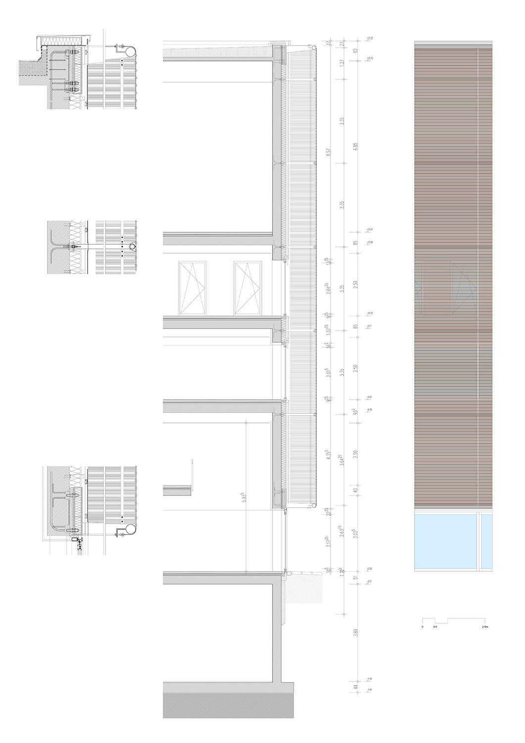 Detail section and elevation of metal mesh facade © gmp Architects}