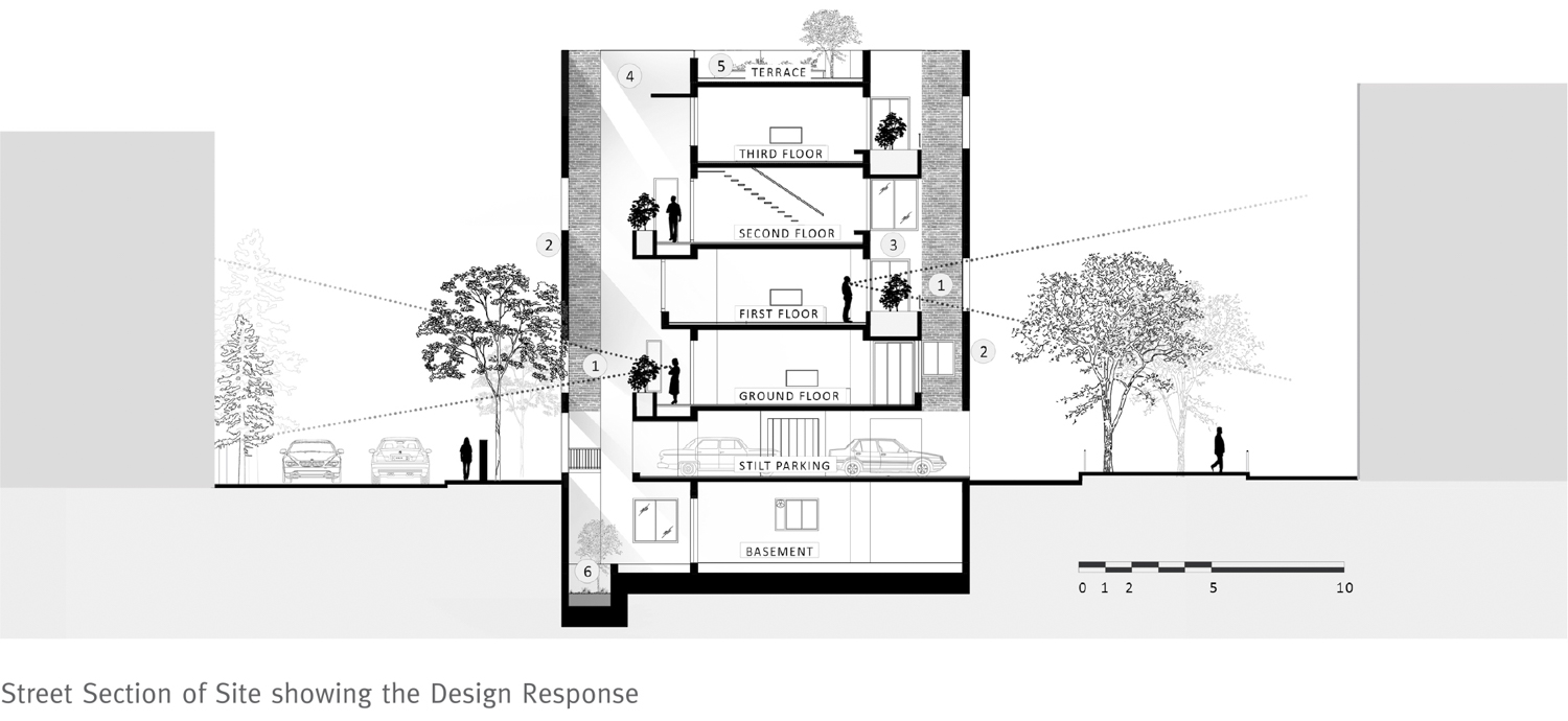 House with a Brick Veil Street Section Studio Lotus}