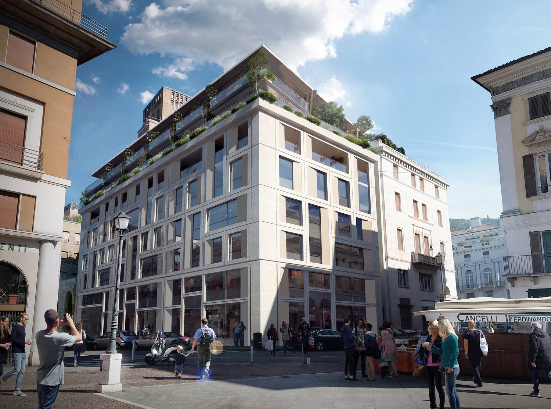 02 - inserimento del progetto - vista renderizzata tra Via Verdi e Via IV Novembre studio B+M Associati