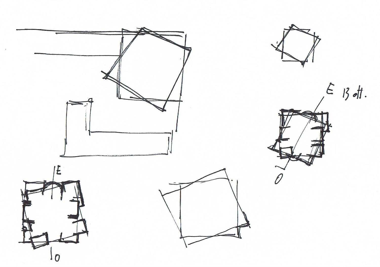 Schizzo di progetto. Studio dell'orientamento della chiesa e genesi della pianta con rotazione di due quadrati orientati arch. Benedetta Fontana}
