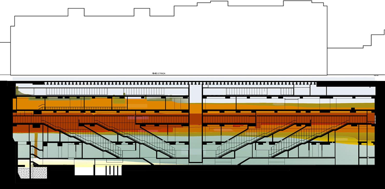 sezione longitudinale con sullo sfondo le stratificazioni archeologiche profonde 27 metri ReLab}