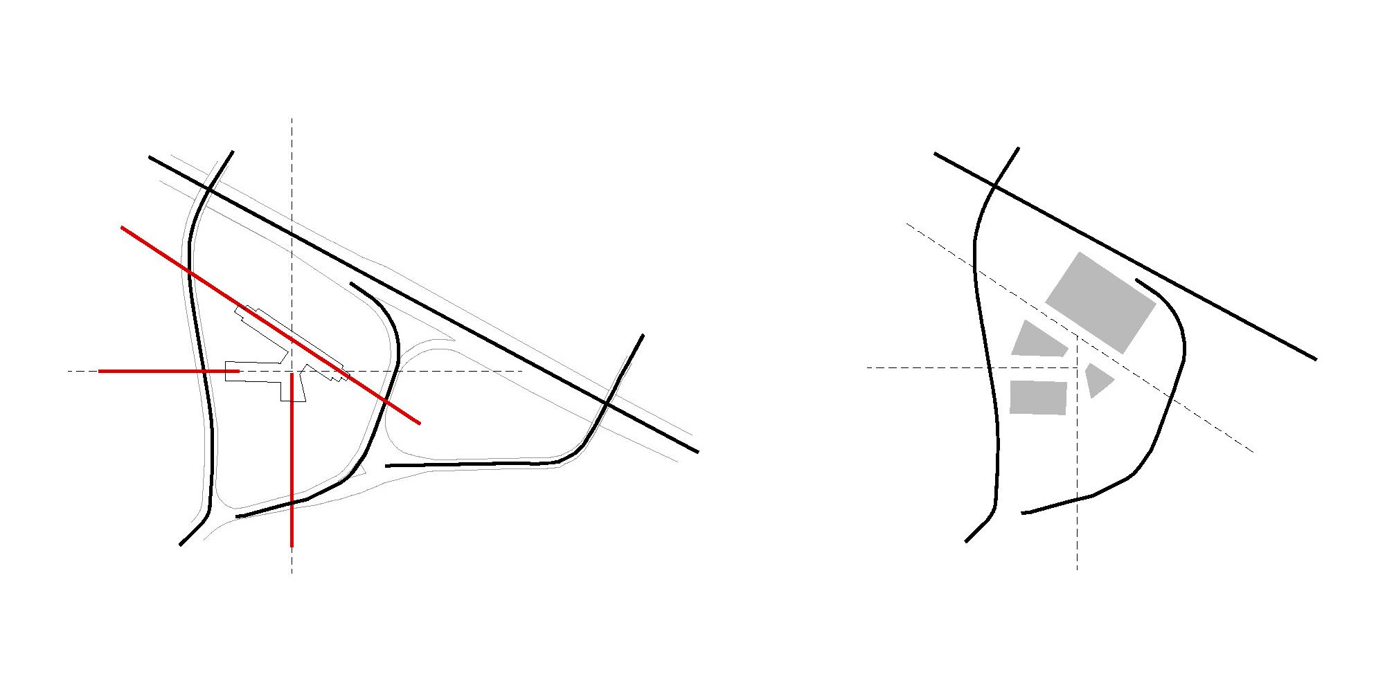 Le infrastrutture viarie e le differenti giaciture dell'edificio. }