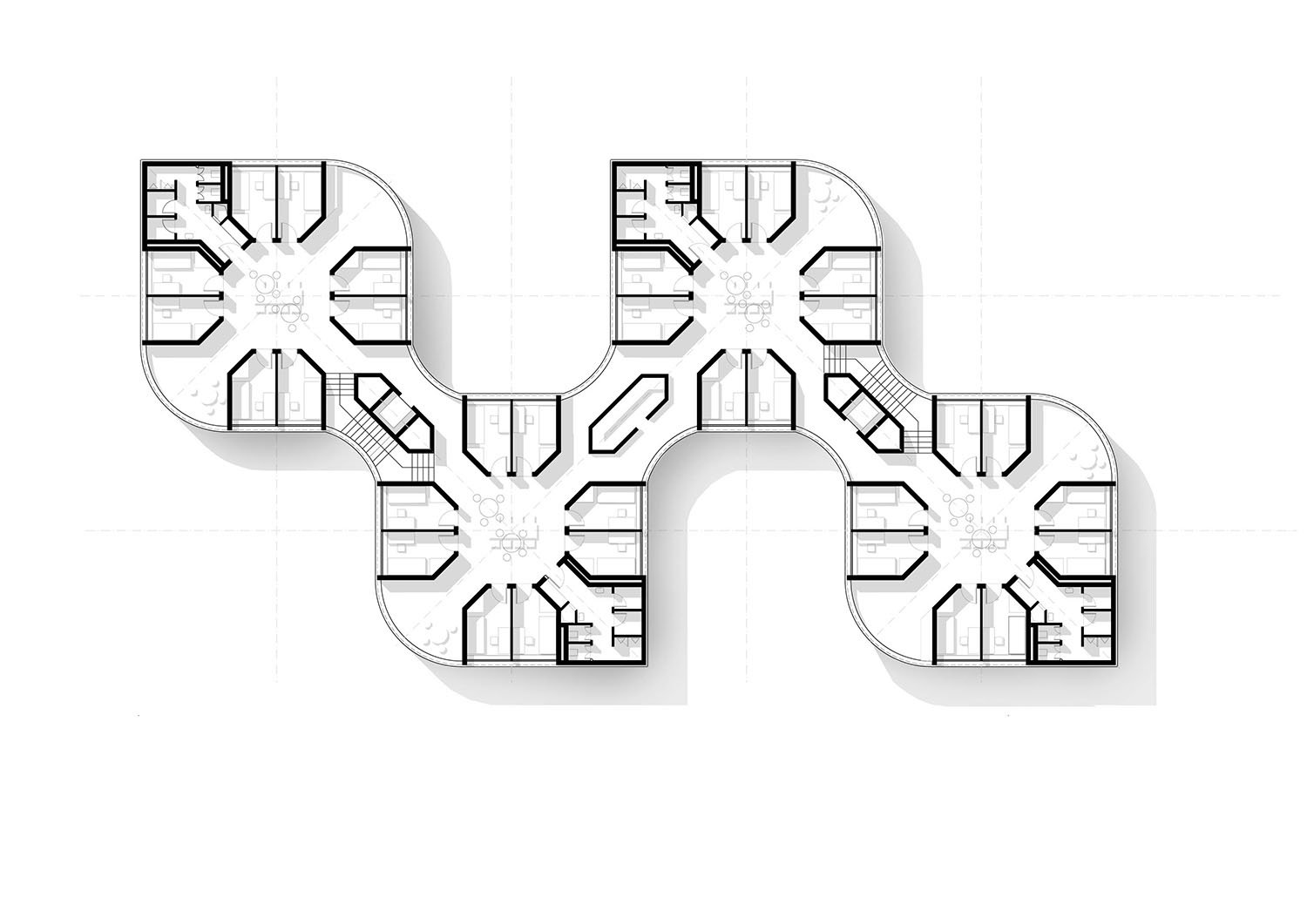 Typical floorplan of two combined clusters, forming one housing block.  gmp von Gerkan, Marg and Partners Architects}