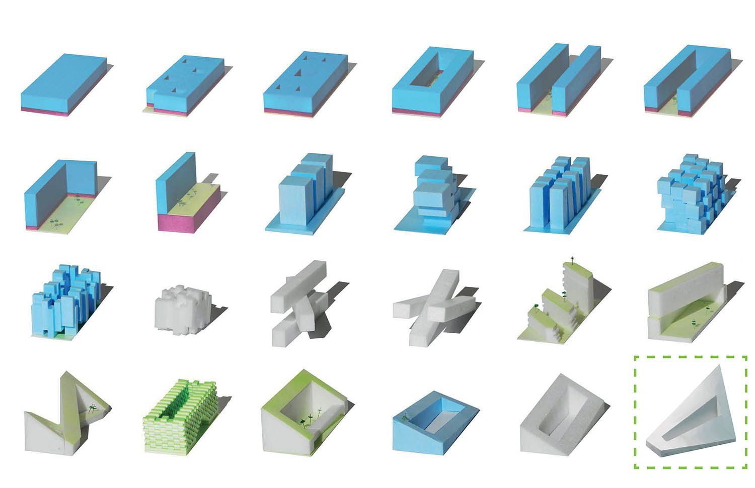 A series of study models explores potential building forms }