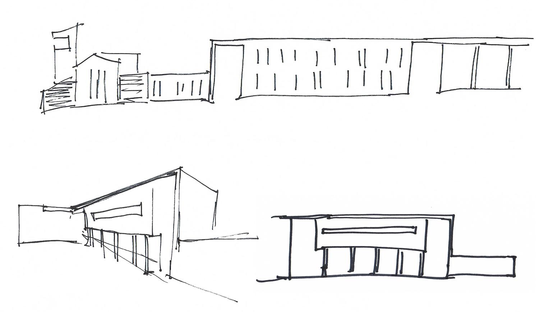 Schizzo di progetto. Studio della riconfigurazione della quinta urbana. Studio dei prospetti esterni ed interni alla corte arch. Benedetta Fontana}