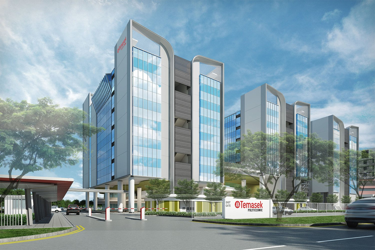 Initial rendering of East Wing seen from Tampines Avenue 1 }
