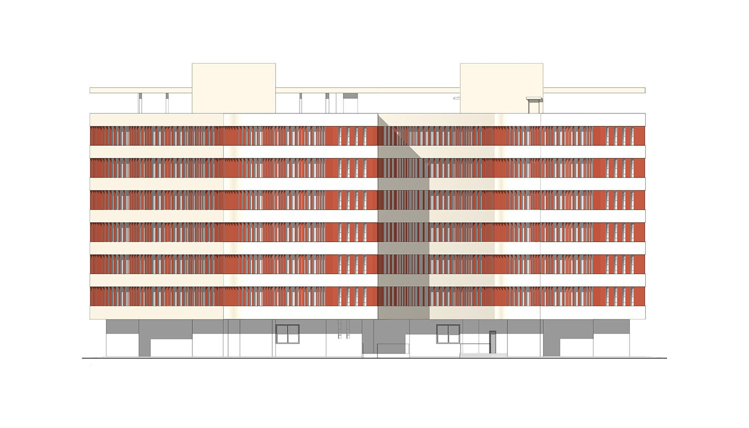 Typical elevation 6 story-high boys´ or girls´ hostel. gmp von Gerkan, Marg and Partners Architects}