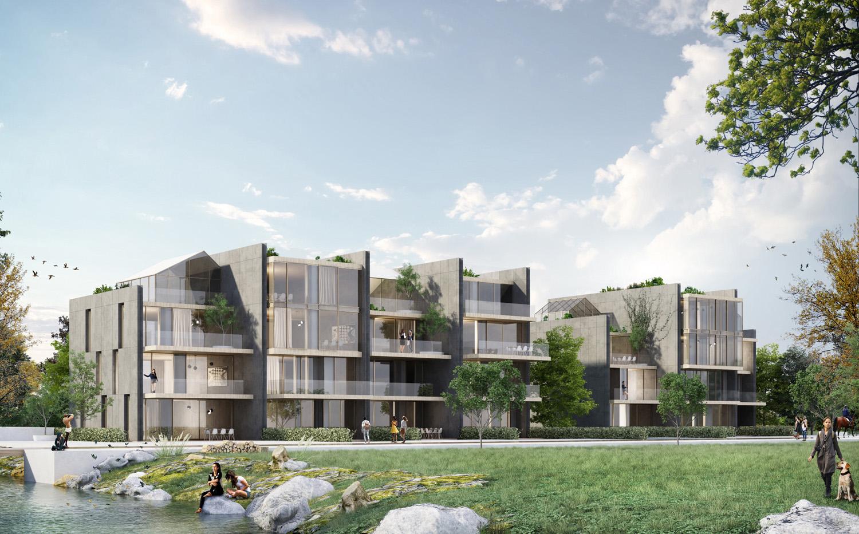Immagine render edificio in linea fronte parco _ lato Est MCA