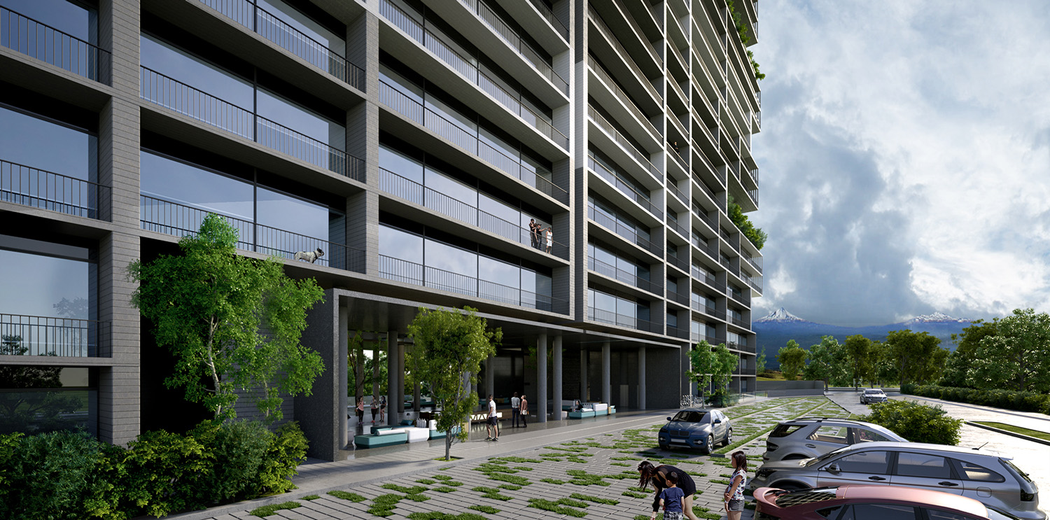 Aproximative view to the buildings access from South BLOOM RENDER
