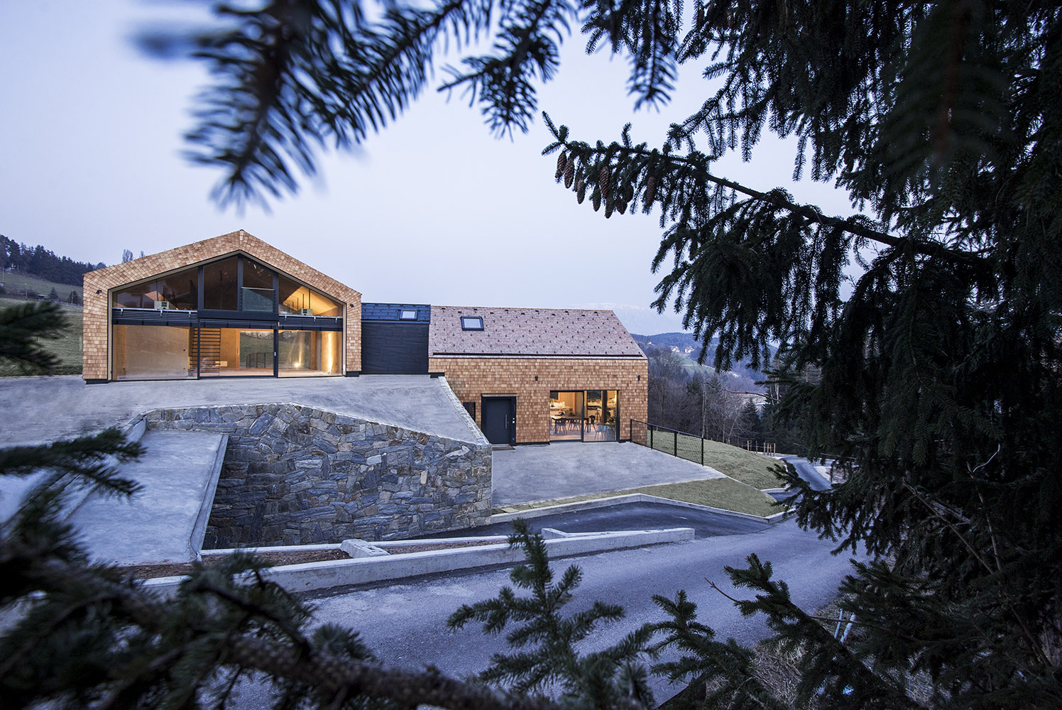 villa with pitched roofs