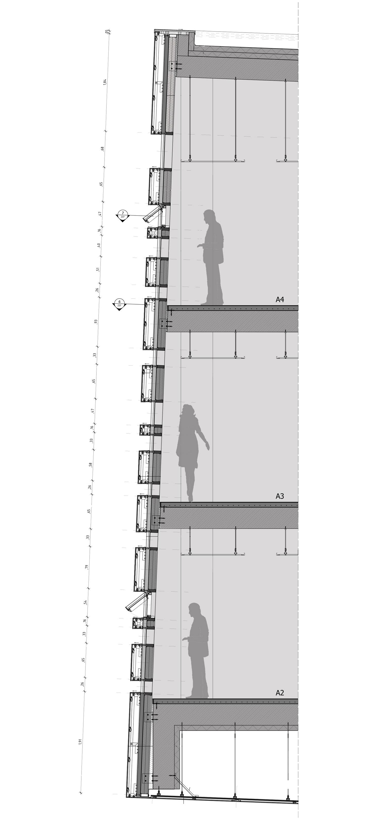 Dettaglio di facciata del Black Monolith Chapman Taylor, CL&AA }