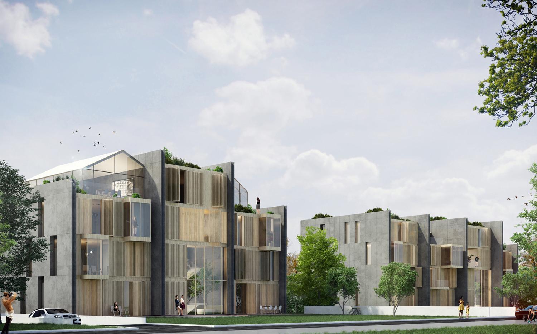 Immagine render edificio in linea fronte parco _ lato Ovest MCA