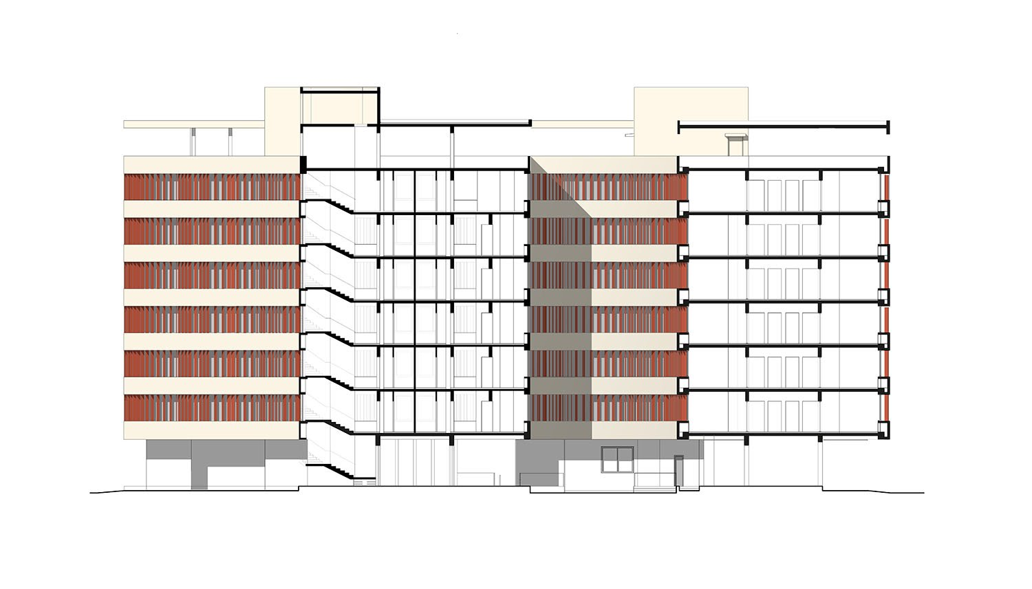 Typcical section 6 story-high boys´ or girls´ hostel  gmp von Gerkan, Marg and Partners Architects}