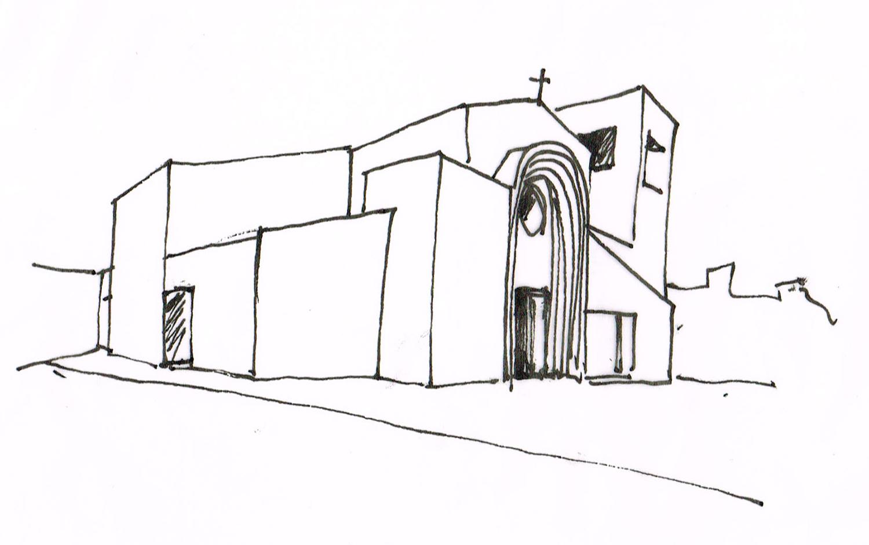 Schizzo di progetto. Studio dei volumi della chiesa dalla corte interna arch. Benedetta Fontana}