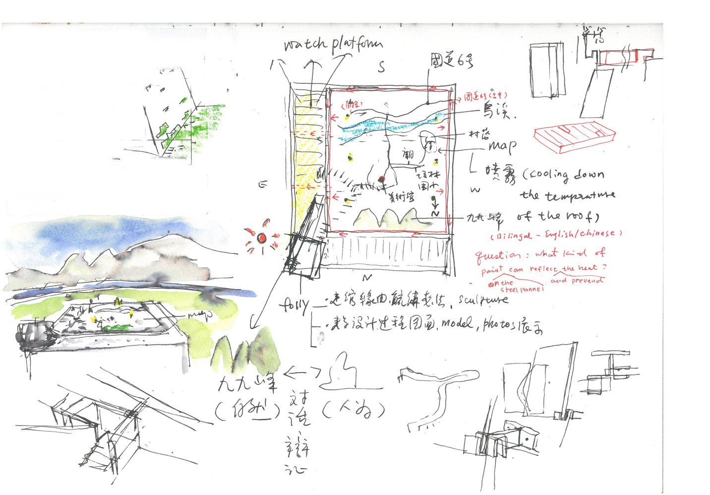 Sketch- mapping on the roof }