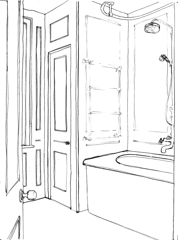 Portraits of life - Bathub sketch }