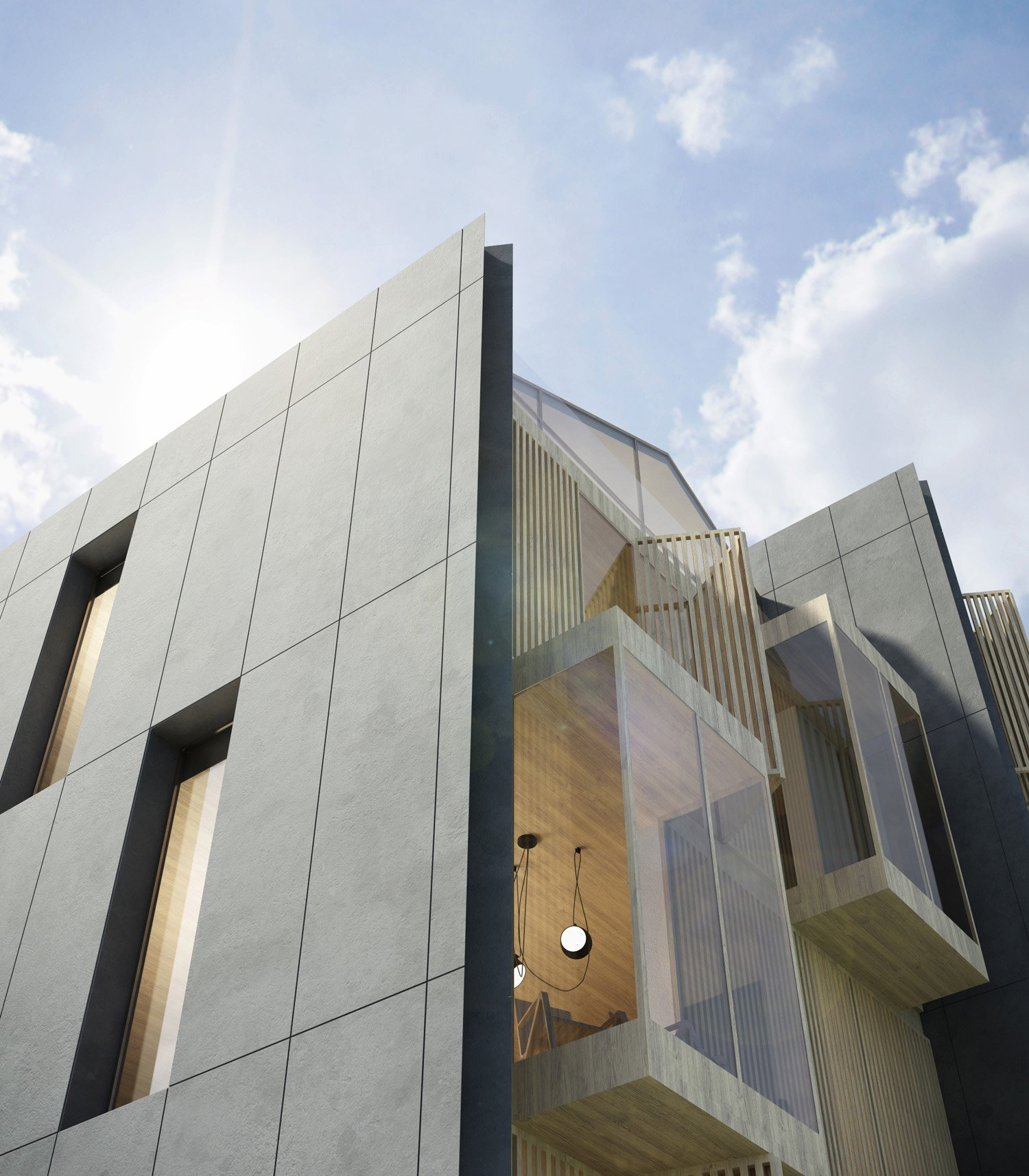 Immagine render edificio in linea fronte parco _ dettaglio MCA