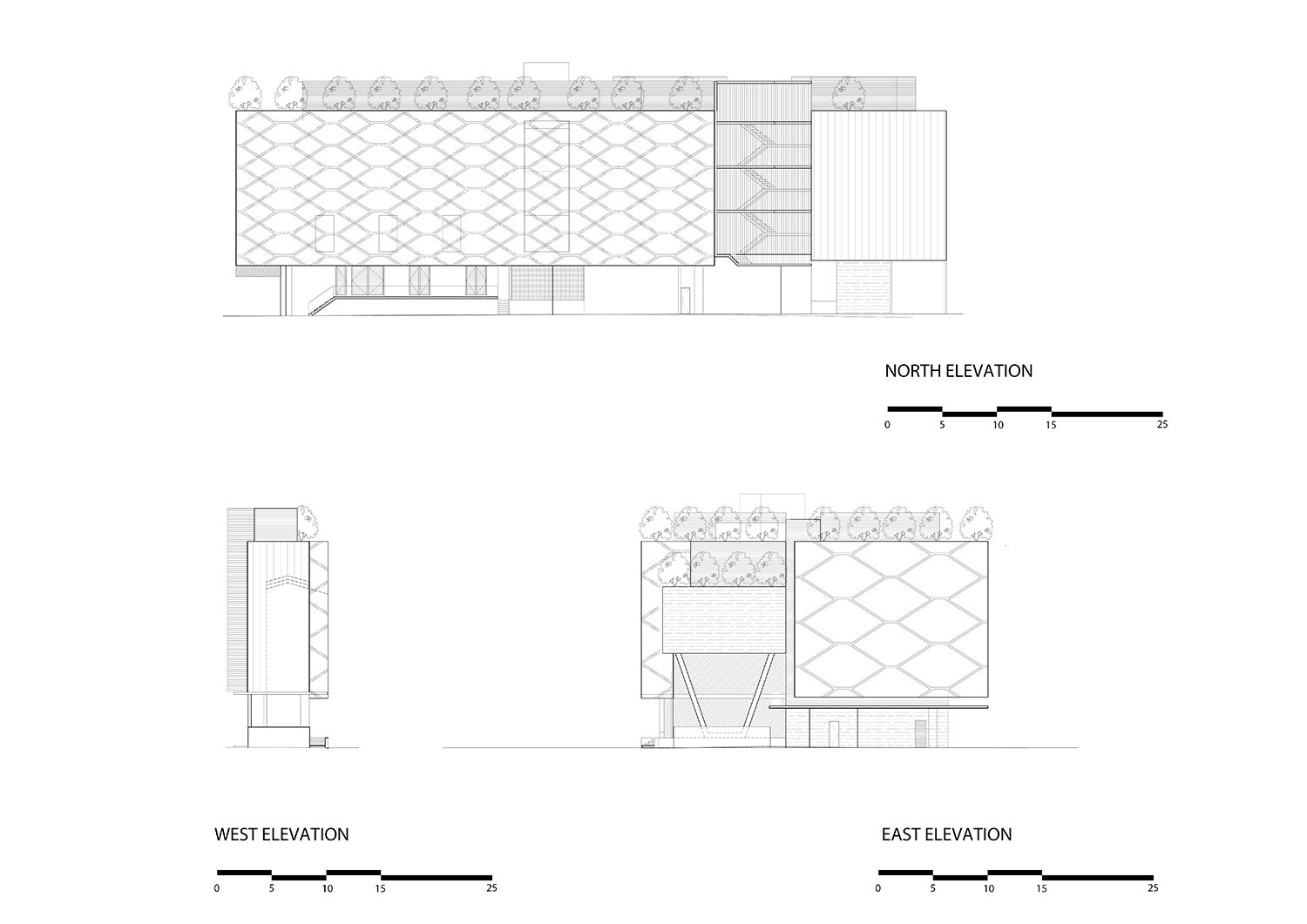 East, west north elevations }