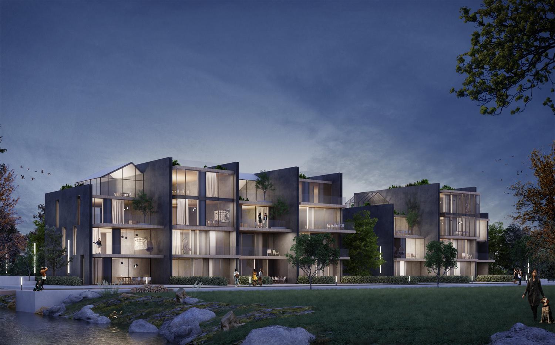 Immagine render notturno edificio in linea fronte parco _ lato Est MCA