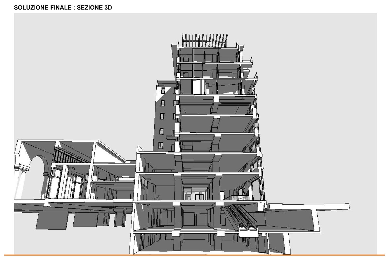 07 - progetto - sezione 3D della soluzione finale studio B+M Associati}