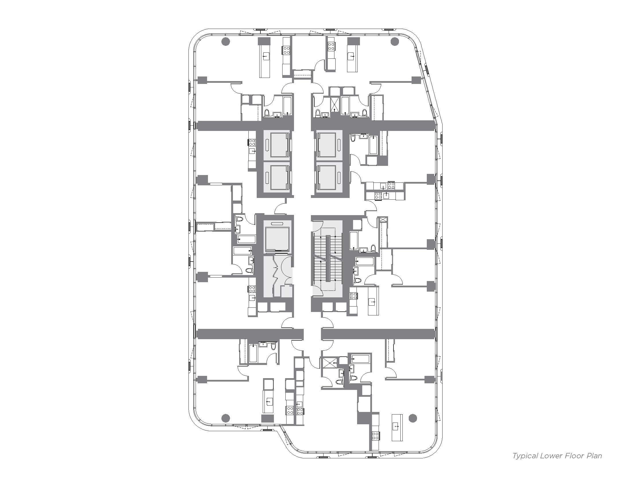Typical Lower Floor Plan }
