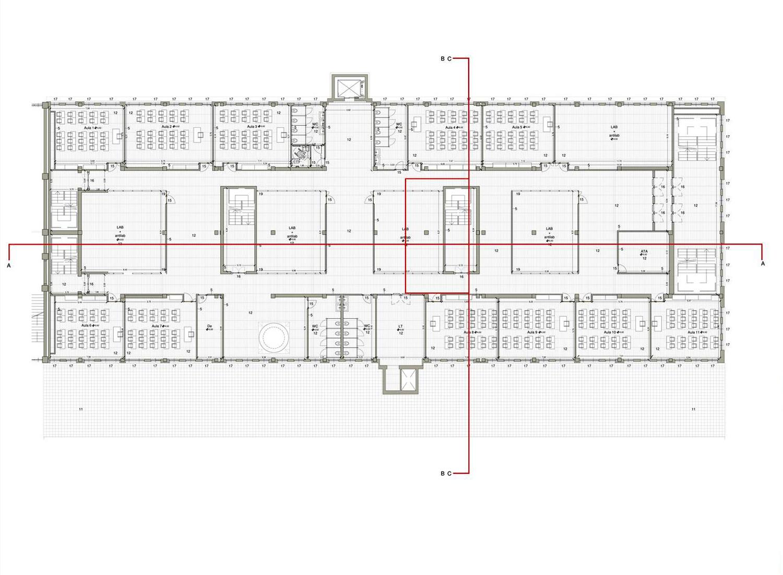 Edificio Ex Ceramica: Pianta piano secondo Archivio Corvino + Multari 2017}
