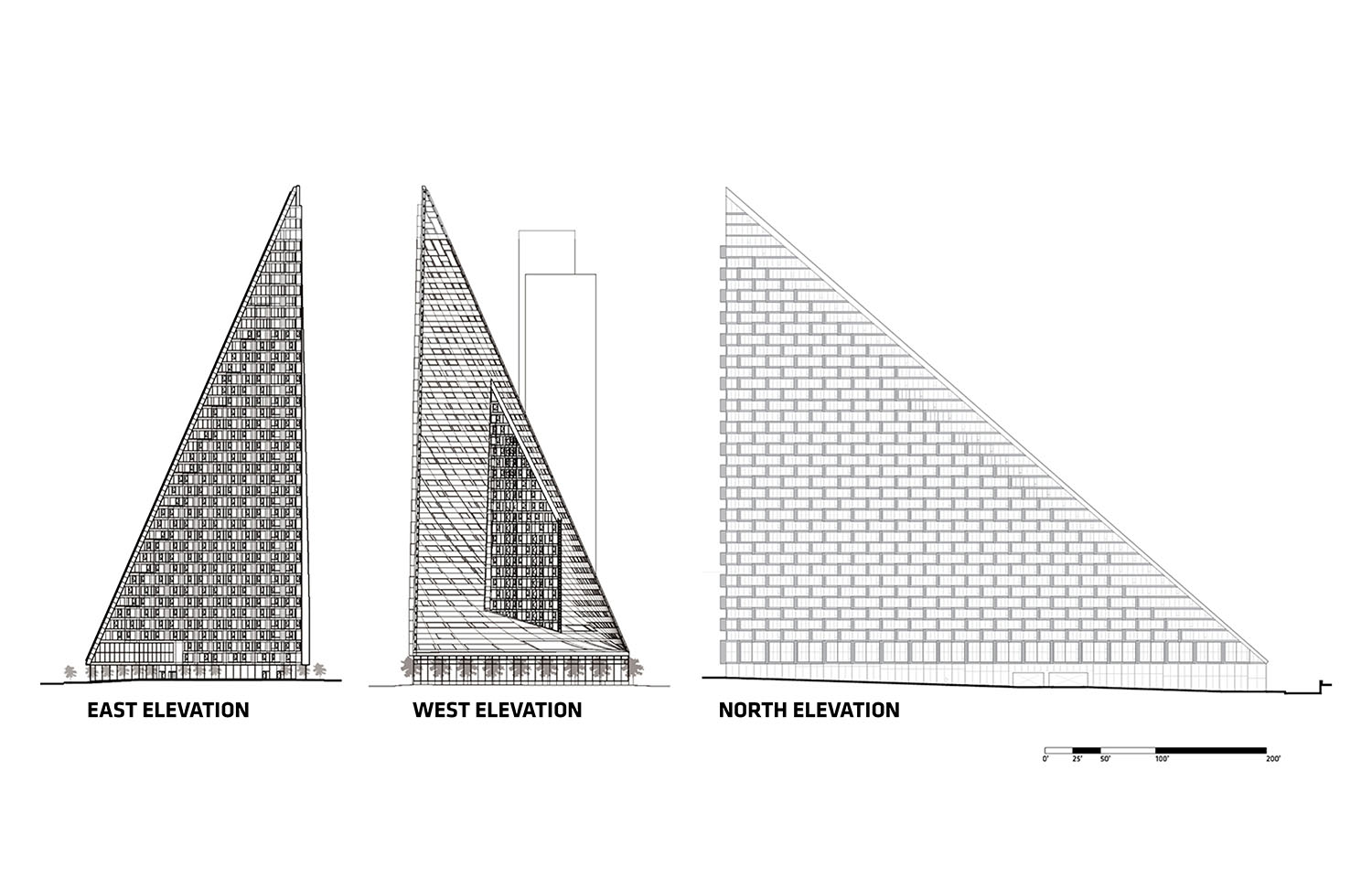 East, west, and north elevations }