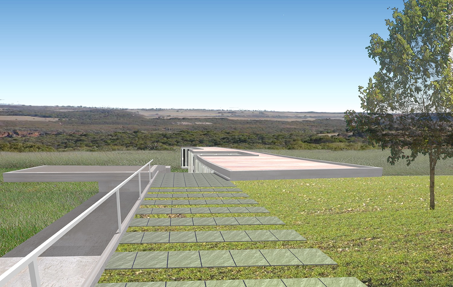 Entrance Approach View Rendering: Lawrence Kim