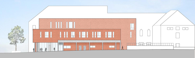 Teaching block West Elevation Coady Architects / ELD Partnership}