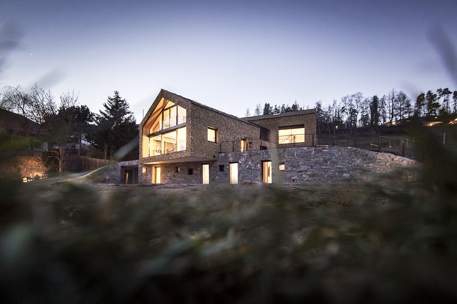 stone walls and wooden facade