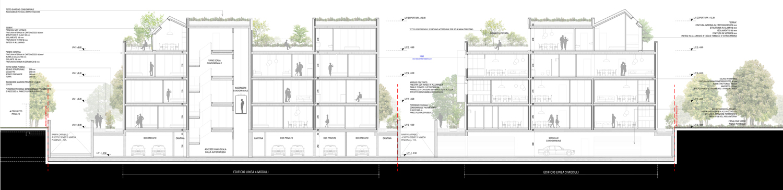 Sezione longitudinale edificio in linea fronte parco MCA}