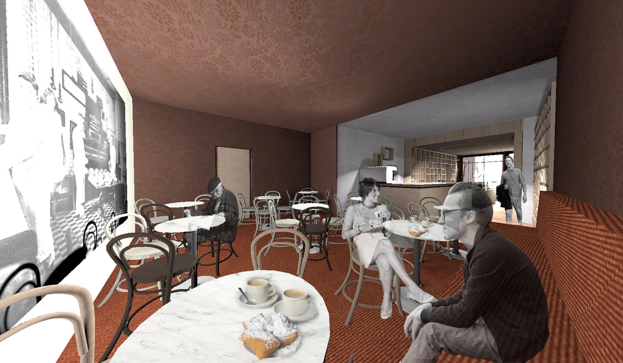 rendering - Wiener Kaffeehaus Lounge }