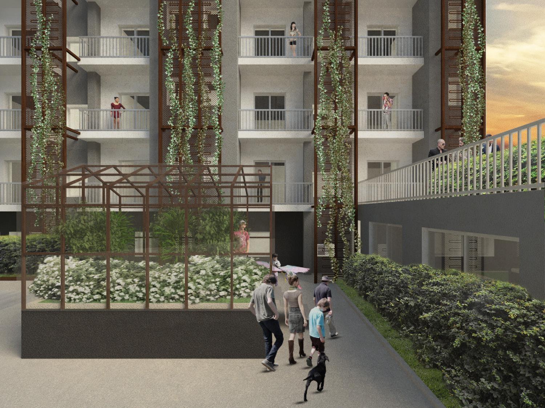 Dettaglio del prospetto sul cortile - Progetto Mei e Pilia Ingegneri Associati}