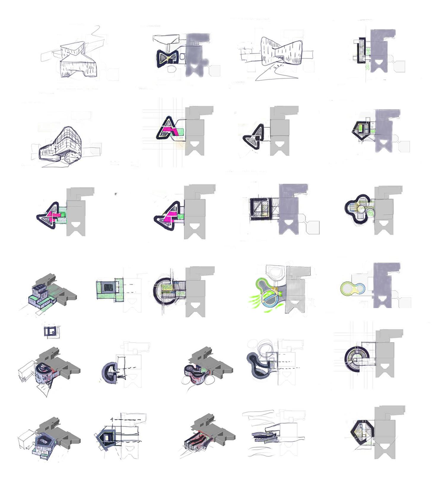 Formal explorations Yazdani Studio of CannonDesign}