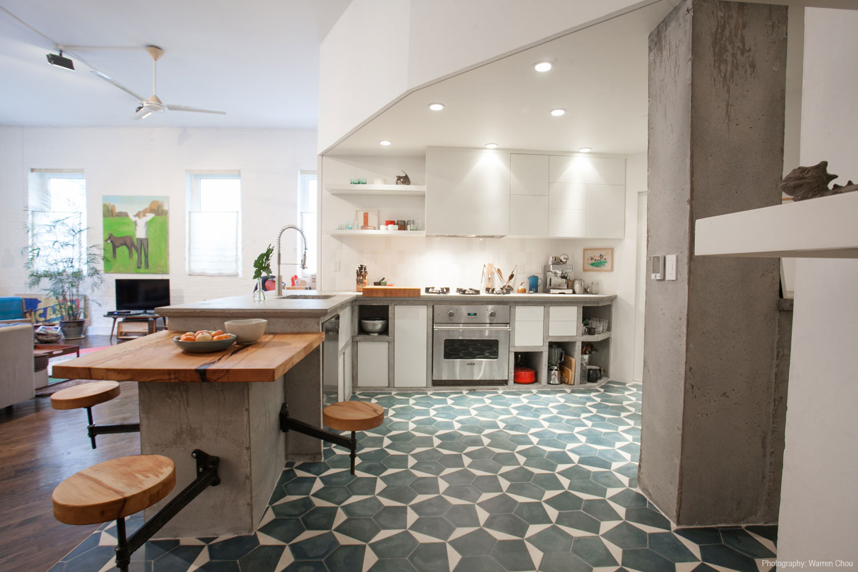 Concrete kitchen in Brooklyn loft Warren Chow